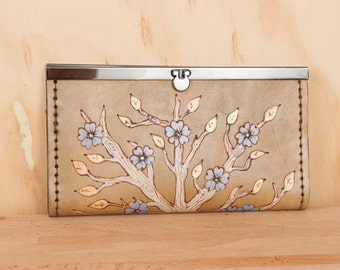 Leather Checkbook Wallet - Ladies Clutch Wallet - Winter pattern with flowers and trees - Purple, gold and antique brown - Womens Wallet