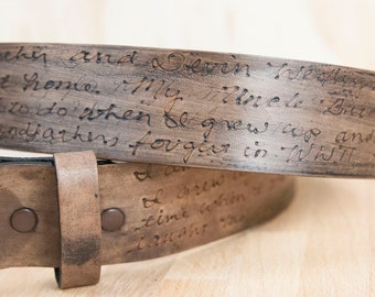 Personalized Leather Belt - Smokey Pattern in Antique Black
