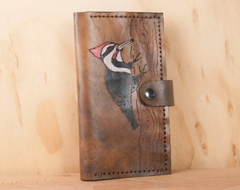 iPhone Wallet Case Leather - iPhone 6 or iPhone 7 - Handmade iPhone Case in the Woodpecker Pattern - Red and antique black