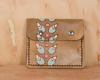 Front Pocket Wallet - Leather in the Petal pattern with stylized leaves - white, turquoise and antique brown