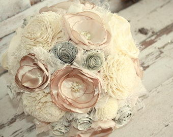 Bridal bouquet, Champagne brides bouquet, champagne fabric flower brides bouquet, champagne wedding flowers, sola flower bouquet, keepsake
