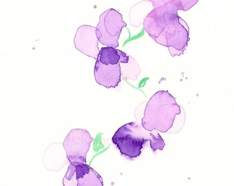 "Watercolor flowers art print: ""Violets"""