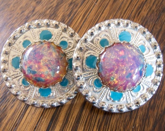 Vintage Signed Miriam Haskell Opal Glass Huge Statement Earrings