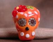 Sugar Skull Lampwork Focal Bead Day of the Dead Bright Orange with Polka Dots Divine Spark Designs SRA