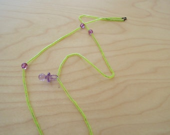 Long beaded necklace - neon yellow and purple - BORDERLINE COLLECTION - FREE shipping