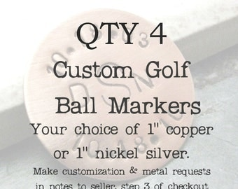 ANY 4 Personalized Golf Ball Marker Copper, customization available, choose copper or nickel silver