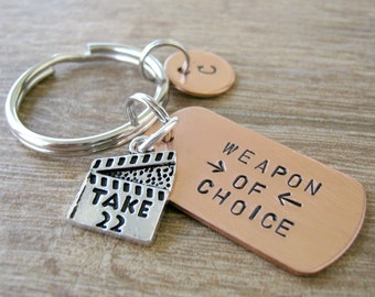 DIRECTOR Keychain, Weapon of Choice, optional personalized initial disc, clapboard charm, actor gift, cinematographer, movies, acting