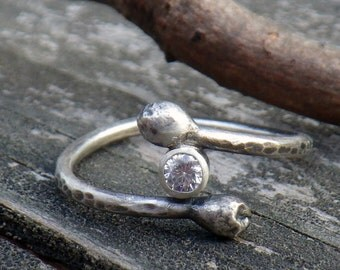 Rustic Cubic Zirconia Branch ring - ADJUSTABLE sterling silver hammered diamond ring budded ring rustic cz ring April birthstone ring