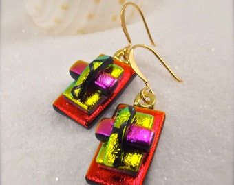 Fused glass jewelry, Dichroic glass Earrings, dichroic, fused dichroic earrings, Hana Sakura, Women's jewelry, fused glass, red earrings