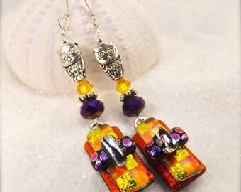 Owl earrings, color block earrings,dichroic fused glass,women's handmade jewelry,dichroic glass earrings,trending jewelry, fused jewelry