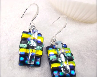 Fused Dichroic glass earrings, Hana Sakura, stripes, Modern jewelry, fused glass jewelry, glass fusion earrings,artisan design,blue earrings