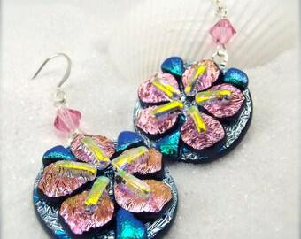 Dichroic earrings, sakura blossom earrings, flower jewelry, cherry blossom jewelry, fused glass jewelry, handmade,hana sakura,asian earrings