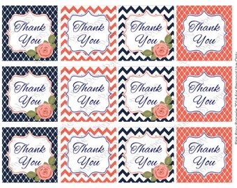 Printable Navy and Coral Thank You Tags - Instant Download