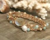 Bracelet Wrap, Crochet Bracelet Wrap, Crochet Bracelet, Hippie Bracelet, Beach Bracelet, Bohemian Bracelet, Summer Bracelet, Job's Tear