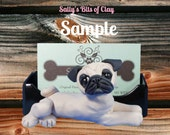 Fawn Pug Dog Business Card Holder / Iphone / Cell phone / Post it Notes OOAK sculpture by Sally's Bits of Clay
