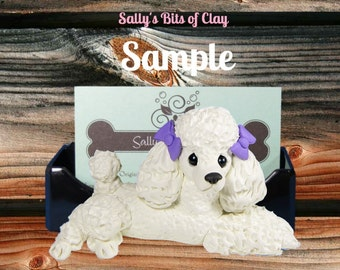 White Poodle Dog with bows Business Card Holder / Iphone / Cell phone / Post it Notes OOAK sculpture by Sally's Bits of Clay