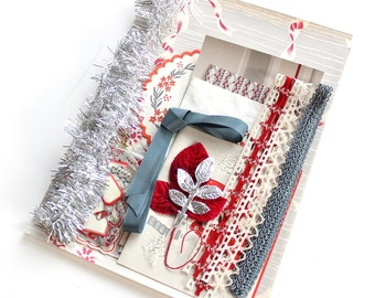 Vintage Scrapbook Kit in Silver White and Red