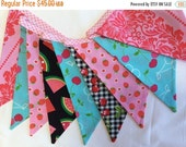 HALF PRICE LIMITED Fruit Theme Fabric Flag Bunting Banner, Pennant Flags, Garland Cherries Pink n Aqua Photo Prop Decoration Large Flags Bir