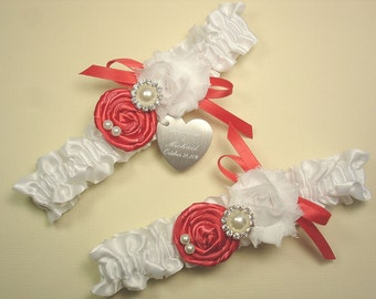 Personalized White and Coral Wedding Garter Set with Handmade Roses, Pearls, Rhinestones and Engraving