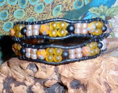 OSHUN OF RIVERS>African Orisha Inspired Beaded Wrap Bracelet/ Handmade Leather Cuff Hand Beaded Bracelet