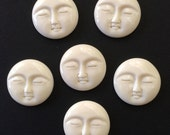 Moon Face Cabochon Carved Bone Round Bali Indonesia 29mm FOR ONE
