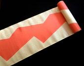 Vintage Japanese Obi Fabric - Vintage Fabric - Silver Soft Salmon Orange - Fabric - Vintage Obi Material  11.4 inches x 1 Yard 29cm x 1 M