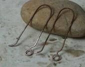 Handmade hammered antique copper hook earwire, 6 pcs (item ID LJER2AC)