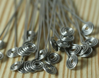 Making your own earwire design with handmade stainless steel spiral pin 3-inch long 20g thick, 2 pcs (item ID PSSSG20)