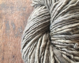 Goldenrod and iron naturally dyed handspun, 142 yards, bulky weight yarn, rustic wool yarn, grey handspun yarn, plant dyed yarn