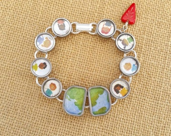 WHAT the WORLD needs NOW - Antique Typewriter Key Altered Upcycled Bracelet Children Around the World Peace