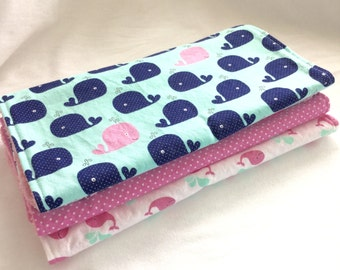 Burp Cloth Gift Set for Baby Girl - Modern Essentials - Whale Toss in Pink and Mint