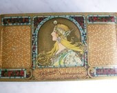 Vintage Whitmans Salmagundi Tin Candy Box Mucha Girl Litho Art Nouveau Design
