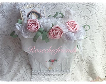 White Hanging Metal BASKET Door Hanger Shabby Cottage Chic Pink Roses Lace ECS schteam sct SVFteam