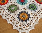 Granny Square Blanket, Handmade Crochet Afghan, Granny Square Baby Blanket, Baby Gift, Sunburst Crochet Square, Cotton Baby Blanket
