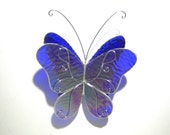 Indigo Wings - 3D Stained Glass Butterfly Twirl -  Medium Shimmering Blue Home and Garden Decor Hanging Suncatcher Yard Art (READY TO SHIP)