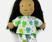 14, 15, 16 inch Waldorf doll's pajamas, blue and green frog print doll pajamas