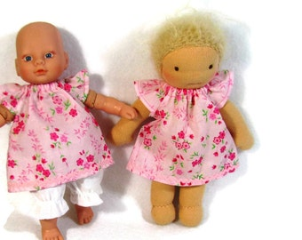 8 inch Waldorf Doll Dress, Pink doll dress, delicate doll dress, petite doll dress and optional white bloomers, tiny doll clothes