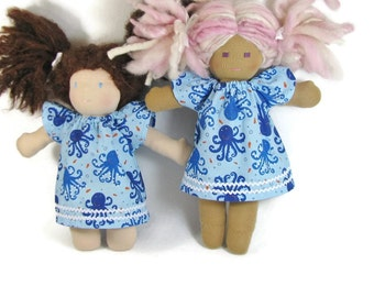 Blue Waldorf Doll Dress, Octopus Doll Dress, Handmade Baby Doll Dress, cotton 10 inch Waldorf doll clothes, 12 inch doll dress