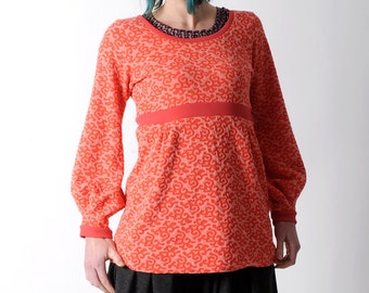 Red womens sweater, Coral red patterned jersey sweater with long puffy sleeves, Womens clothing, Womens sweaters, MALAM