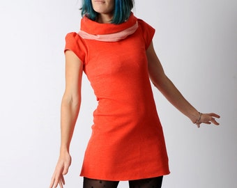 Red jersey tunic, Red womens tunic in vintage jersey, wide cowl jersey tunic, Short sleeved red tunic, sz UK10