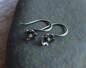 Petite Flower Earrings Sterling Silver Earrings Floral Earrings Petite Earrings Drop Earrings Gift for Her Dangle Earrings Woodland Jewelry
