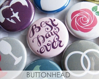 Cute Cheap Wedding Decorations - Bridal Shower Giveaways - Cheap Bridal Shower Favors - Buttons Pins - Set of 100