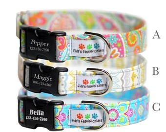 Personalized Dog Collar, Summer Dog Collar Collection