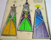 Vintage Three Wise Men Light Reflecting Christmas Window Ornaments Decorations Window Vue 1970 Floralier Co NY