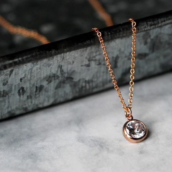 Tiny Crystal Layering Necklace - Rose Gold Fill and Cubic Zirconia