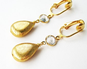 Gold Drop Clip-on Earrings, Clear Crystal Faceted Round, Brushed Gold Teardrop Dangle Clip Earrings for Non Pierced Ears, Sparkling Luxe