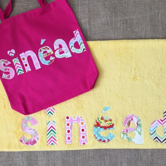 Monogrammed Beach Towel And Bag Set: Items Similar To Personalized Towel And Tote Bag Gift Set