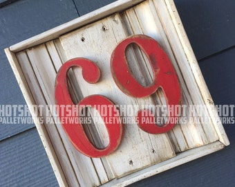 69, an Age or a Whatever ;), Vintage-looking Pallet wood hand made, hand painted sign