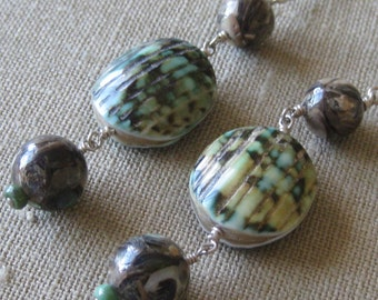 From the Sea Paua & Other Shell Tripple-linked Earrings - E