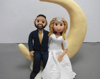 DEPOSIT for a Custom Crescent Moon Wedding Cake Topper figurine sculpture